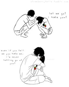 """She: """"Let me go! I hate you!"""" He: """"Even if you tell me you hate me, I'm never letting go of you! Cute Couple Comics, Comics Love, Cute Couple Art, Anime Love Couple, Happy Love Quotes, Beautiful Love Quotes, True Love Quotes, Love Quotes For Him, Cute Couple Drawings"""