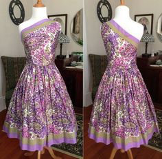 NOS Vintage 50s One Shoulder Paisley Rose Chintz Novelty Print Dress Full Skirt