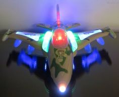 WolVol Electric Military Fighter Jet Aircraft Airplane Toy with Beautiful Attractive Flashing Lights and Loud Music, goes around and changes directions on contact (Battery Powered) - Great Gift Toys for Kids - Tonys Books
