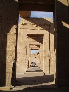 Towards the sanctuary (Holy of Holies) at the Kom Ombo Temple Egypt. Early 'Hypostyle' halls