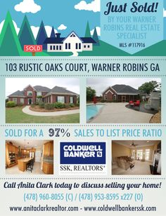 Just SOLD this 4 Bdrm/3.5 Bath home in Vinings Place Subdivision at 103 Rustic Oaks Court, Warner Robins GA 31088 (MLS # 117916).