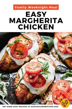 This easy Margherita Chicken recipe uses my favorite pizza toppings to top chicken breasts for a main meal that you can enjoy any night of the week. Oven baked chicken breasts topped with mozzarella and tomatoes. Yum! #margheritachicken #chickenbreasts #weeknightdinner #lowcarb #easychickendinner Weeknight Meals, Easy Meals, Easy Chicken Recipes, Roma Tomatoes, Caprese Salad, Salmon Burgers, Mozzarella, Poultry, Chicken Breasts