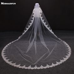1.5M 1 Layer Women Bridal Long Wedding Tulle Veil Glitter Sequins Embroidered Plum Blossom Edge Marriage