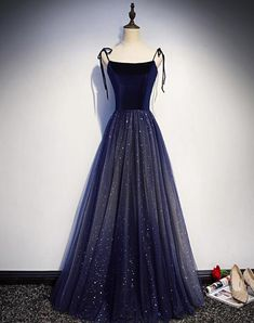 Spring Navy Blue Velvet Stunning Skirt Long Formal Prom Dress, Evening Dress from Sweetheart Dress Handmade item Materials: Tulle, velvet Made to order Color: Refer to image Processing business days Delivery business Pretty Dresses, Sexy Dresses, Beautiful Dresses, Dress Outfits, Fashion Dresses, Dress Up, Long Dresses, Night Outfits, Elegant Dresses