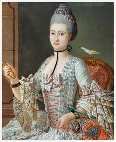 Michel Pierre Hubert Descours (French, 1741–1814) «Portrait of Elizabeth de la Vallee de la Roche» 1771.  Wonderful details in this painting!