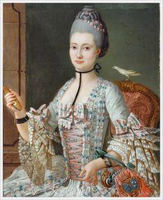 Michel Pierre Hubert Descours (French, 1741–1814) «Portrait of Elizabeth de la Vallee de la Roche» 1771.  Wonderful details in this painting!