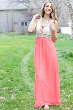 Aztec Coral and Lace Maxi Dress - My Sisters Closet