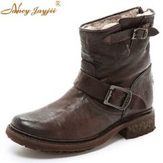 a07fe75214b 118.80  Watch here - Women Nubuck Leather Shearling Lined Boots Wrinkled  Leather Moto Low Heels