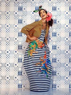 Stella Jean - Woman - Spring Summer 2014 wax print headscarf, striped maxi and with striped jacket