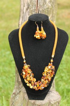 natural baltic amber rope necklace jewelry handmade от Daidija