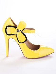 Yellow Pointed Toe Leather High Heels