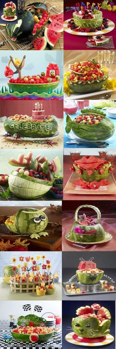 Discover thousands of images about Fruit baskets are the gift everyone dreads getting--except when they're made out of watermelon carvings like these edible works of art. Fruits Decoration, Salad Decoration Ideas, Deco Fruit, Fruit Creations, Watermelon Carving, Watermelon Art, Watermelon Designs, Food Carving, Vegetable Carving
