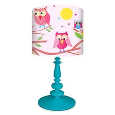 """Owls on a Branch - Pink"" Birds Lamp Shade by Rachel Taylor for Oopsy Daisy. Full Lamp (on 1 of 6 color bases) $138. Shade only $69"