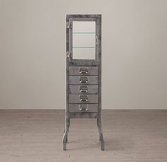 Pharmacy Large Bath Cabinet with Drawers Burnished Steel