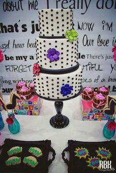 Black & White Polka Dot Cake with Pops of Color - Demi Lovatto Rockstar Birthday Party