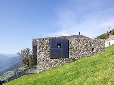 Farmstead with a stone wall next to the Chapel in Sterzing, Northern Italy by Bergmeister Wolf Residential Architecture, Architecture Design, Italy Architecture, Italian Farmhouse, Farmhouse Plans, Modern Farmhouse, Wood Shingles, Photo Grid, Stone Houses