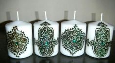 Henna candle Henna Candles, Candels, Mehndi Designs, Design Ideas, Christmas Ornaments, Holiday Decor, Crafts, Art, Candles