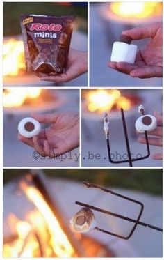 Roasting Rolo marshmallows