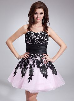 Homecoming Dresses - $129.99 - A-Line/Princess Sweetheart Short/Mini Taffeta Organza Homecoming Dress With Lace Sash (022010030) http://jjshouse.com/A-Line-Princess-Sweetheart-Short-Mini-Taffeta-Organza-Homecoming-Dress-With-Lace-Sash-022010030-g10030