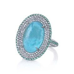 Cabochon Paraiba tourmaline cocktail ring in white gold with diamonds from Martin Katz's new Paraiba collection.