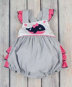 Navy & Pink Stripe Bubble Romper - Infant & Toddler #zulilyfinds