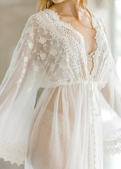 VINTAGE LACE BRIDAL robe for wedding day, boudoir photo shoot, lingerie for your wedding night, maternity photo shoot, honeymoon lingerie Lace Bridal Robe, Bridal Boudoir, Bridal Robes, Wedding Lingerie, Bridal Nightgown, Wedding Underwear, Bridal Suite, Honeymoon Lingerie, Indian Bridal Outfits