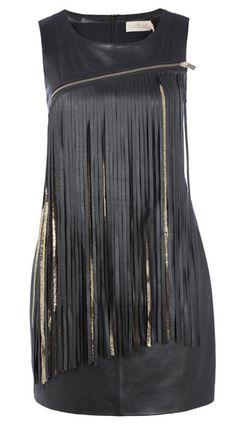 tendencia flecos vestido negro