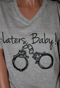 "Quote ""Laters, Baby"" Inspired by Fifty Shades of Grey - Athletic Heather Unisex V-Neck Size SMALL-XXL"