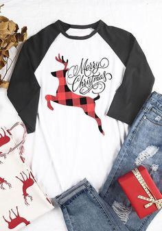 fb98c314ca26 White Patchwork Elk Monogram Print Long Sleeve Round Neck Casual Christmas  T-Shirt