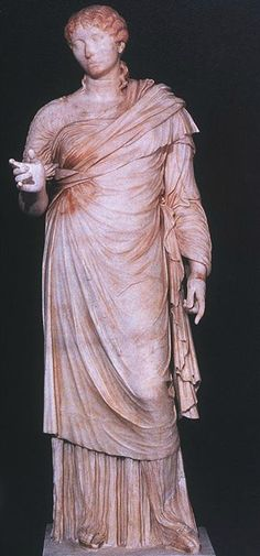 """Roman Herculaneum  """"Statue of a young woman: front view""""  c. 40 A.D.  Woman is wearing an under tunic, an outer tunic that may be a stola, and also a palla. With also a simpler hair style."""