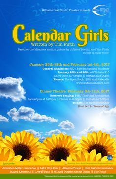 Poster for the Williams Lake Studio Theatre production of 'Calendar Girls'
