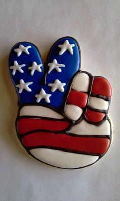 Sugar cookie decorated peace sign americana