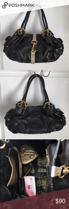 Juicy Couture Handbag Leather Euc Magnetic And Clip Closure Matching Mirror Dust