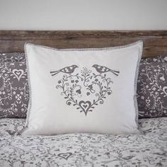 Beautifully printed with Jan Constantine's Love Birds design featuring two birds perching on a love heart shaped wreath, this white and grey continental pillowc. Two Birds, Love Birds, Bird Perch, Bird Design, Bird Prints, Heart Shapes, Bed Pillows, Pillow Cases, Cotton