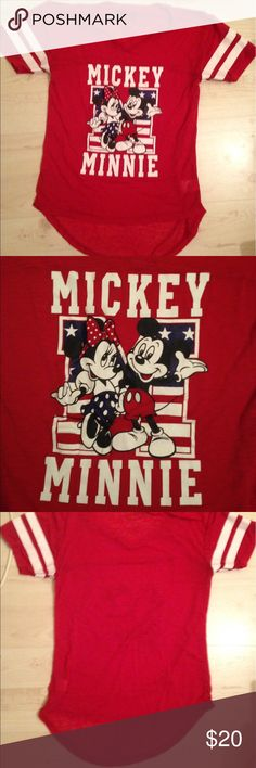 Minnie and Mickey Mouse shirt Minnie and Mickey Mouse red, white and blue t-shirt. Kinda see through, V neck that is high and low. Only worn once. Great for the Fourth of July! Disney Tops Tees - Short Sleeve