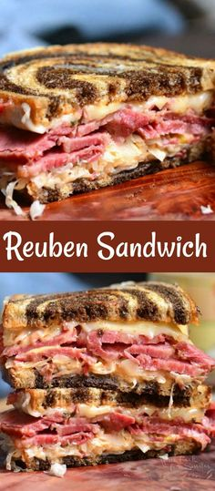 Reuben Sandwich is a perfect combination of warm corned beef, melted Swiss cheese, sauerkraut, Thousand Island dressing, and crunchy rye bread. Corned Beef Sandwich, Reuben Sandwich, Grilled Sandwich, Canned Corned Beef, Corned Beef Recipes, Meat Recipes, Dinner Recipes, Healthy Sandwich Recipes
