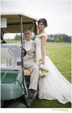 Golf course wedding, couple's portrait with golf kart, one of my favorite shots ever!