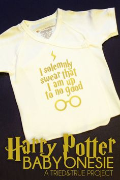 "Dress your future Potterhead in style with this ""Up To No Good"" Harry Potter Baby Onesie Silhouette file.  Accio cuteness! #plumpicks #vinyl"
