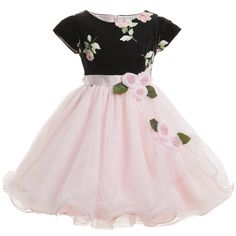 Lesy Luxury Flower - Black & Gold Tulle Dress with Sequins Little Girl Outfits, Little Girl Fashion, Little Girl Dresses, Kids Outfits, Kids Fashion, Girls Party Dress, Baby Girl Dresses, Baby Dress, Flower Girl Dresses