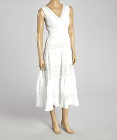 00c7fd019af5 Another great find on  zulily! White Crocheted Shirred Surplice Dress -  Women  amp