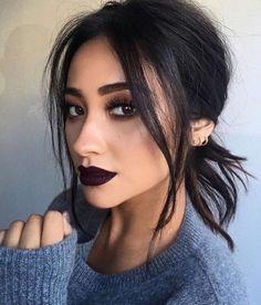 Make-up: dark lipstick shay mitchell celebrity face makeup fake eyelashes More