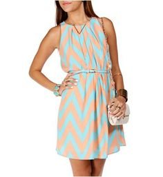 Peach/Baby Blue Chevron Shift Dress