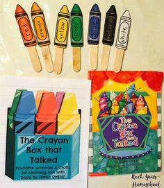 Crafts & free printable activities to go with The Crayon Box that Talked. Crayon Themed Classroom, Preschool Classroom Themes, Preschool Colors, Preschool Activities, Classroom Ideas, Kindergarten Phonics, Classroom Behavior, Classroom Inspiration, Preschool Art