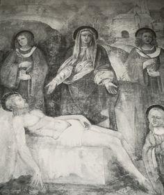 """Timoline - 1530 circa, affresco di Francesco Prata da Caraggio """"Compianto del Cristo morto tra i Santi Cosma e Damiano, fu posto nell'abside. Oggi posto nell'altare maggiore della nuova parrocchiale."""