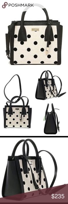 Kate Spade Elsie Street Small Meriwether Handbag Black / Natural Dot handbag with crossbody option. Gold toned hardware with Magnetic snap top closure; Dual handles with a drop of approx. 3 inches Adjustable strap with a maximum drop of approx. 21.5 inches Interior features 1 zip pocket and 2 slip pockets Approx. dimensions: 9.75 in L x 7.5 in H x 5 in W kate spade Bags
