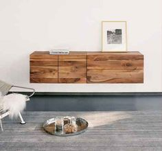 Floating Cabinet, Credenza or Buffet:   A combination of drawers and cabinets work great in the living room, dining room or even as a small dresser in a bedroom. It can be used to store belongings, serve food or drinks, and display accessories.