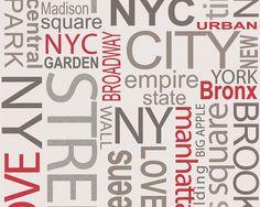 Tapéta New York 93562-1 Betűs, fehér - Tapéta webáruház