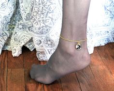 CUSTOM Wedding Gold Ankle Bracelet with by BouquetPhotoCharms