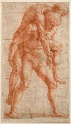 raffaello santi junger mann einen alten auf dem rucken tragend aeneas und anchises