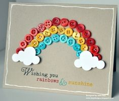 Rainbow Card-good for kids craft Kids Crafts, Craft Projects, Rainbow Card, Button Cards, Creative Cards, Cute Cards, Scrapbook Cards, Scrapbook Photos, Homemade Cards